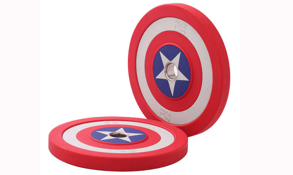 Captain America Shield Urethane Barbell Plates (1)